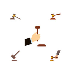 Flat icon hammer set of hammer crime tribunal vector