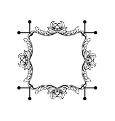 floral vintage square frame isolated on vector image