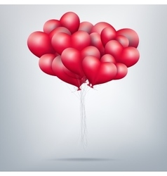 Flying bunch of red balloon hearts EPS 10 vector image