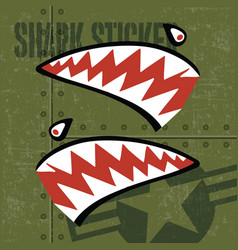 Flying tiger shark mouth sticker vinyl on green vector