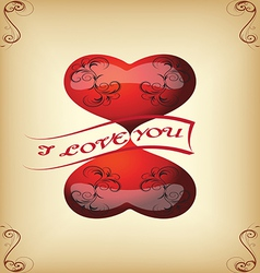 greeting card with hearts for Valentines vintage s vector image