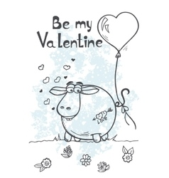 Greeting card with sheep on Valentines Day vector image