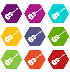 guitar icon set color hexahedron vector image