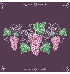 Hand-drawn decorative ripe grapes on the vine vector