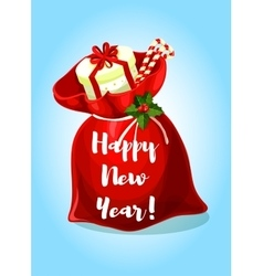 Happy New Year greeting poster Santa gifts bag vector
