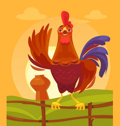 happy rooster character crows in morning vector image