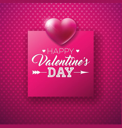 happy valentines day design with shiny heart and vector image