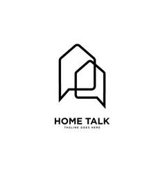 Home talk logo simple line logo template vector