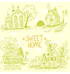 houses doodle vector image