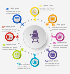 Infographic template with classroom icons vector