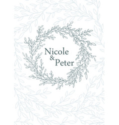 invitation card made of hand drawn branches vector image