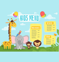 kids food menu design template vector image