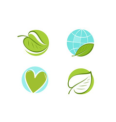 leaf logo environment ecology nature icon or vector image