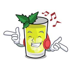 Listening music mint julep mascot cartoon vector