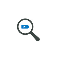 magnifying glass icon play video icon vector image