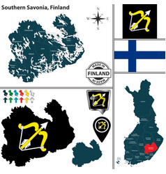 Map of southern savonia finland vector