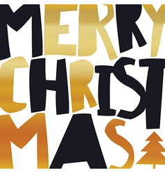 Merry Christmas Gold Greeting Card On white vector image