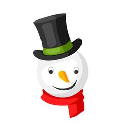 Merry christmas snowman head in top hat vector