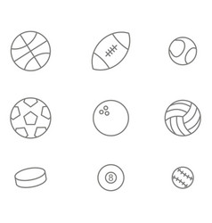 monochrome set with balls line icons vector image