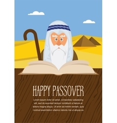 Moses reading passover haggadah on egypt vector