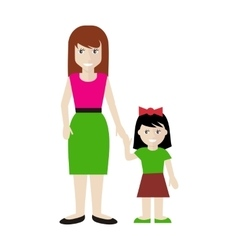 Mother and Daughter in Flat Design vector
