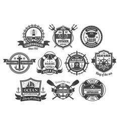 Nautical marine heraldic icons set vector
