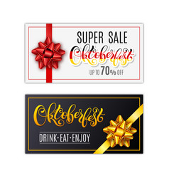 oktoberfest letterin black holiday gift cards vector image