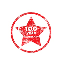 One hundred year warranty red grungy stamp vector image