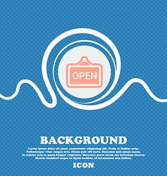open sign icon Blue and white abstract background vector image
