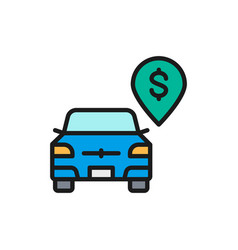 paid parking toll parking flat color line vector image