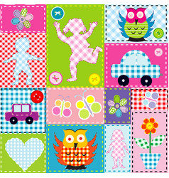 Patchwork for kids with childish elements vector