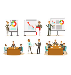 People at presentation show different graphs vector