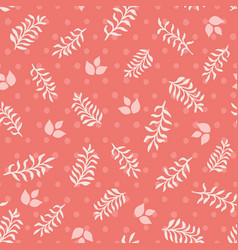 Pink leaves and sprigs on coral dots seamless vector