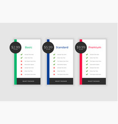Plans and pricing comparision template vector