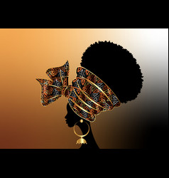 portrait african woman in traditional wax turban vector image