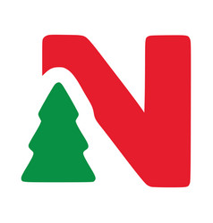 Red letter n with fir clip art christmas vector