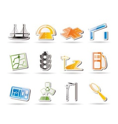 Road and navigation icons vector
