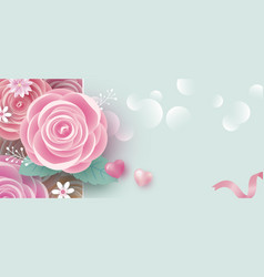 rose flowers banner with copy space background vector image