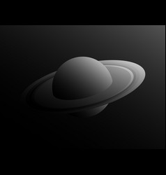 saturn planet in retro style with shades of gray vector image