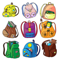 School backpack isolated set on white background vector