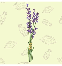 Seamless pattern with a bouquet of lavender vector image