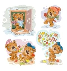 Set clip art of funny teddy vector