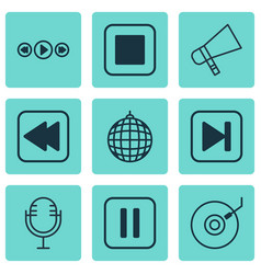 Set of 9 audio icons includes mike bullhorn vector