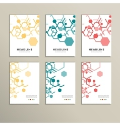 Set six book covers background hexagons vector