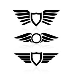 shield with wings icons - winged badges and vector image