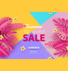 summer sale background for banners pink palm vector image
