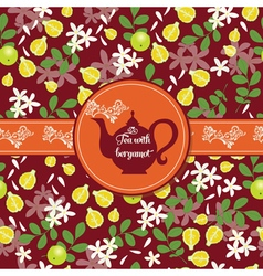 Teapot with citrus pattern vector image