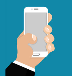 the phone in the hand with a blank screen vector image