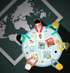 Top View Table with Businessmen and World Map on vector image