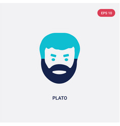 Two color plato icon from greece concept isolated vector